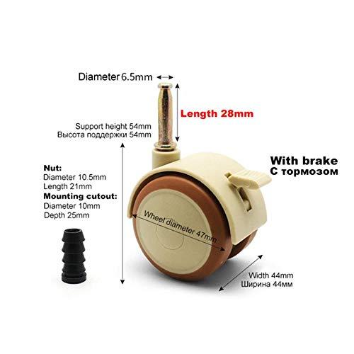 JPZCDK 4 Stücke Möbelrollen Schrankklemme mit Bremsrädern Nylon Möbel stützbein Stühle Bettwagen, Stecker