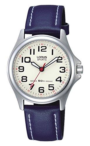 Lorus Unisex Kinder Analog Quarz Uhr mit Leder Armband RRS55VX9