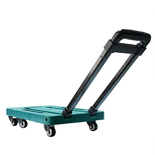QNN Tableta Plegable Seis Rondas de Carrito de Pasarela. Trolley de Tirón Portátil Tortuga de Manejo de Hogares Camioneta Pequeña/Verde