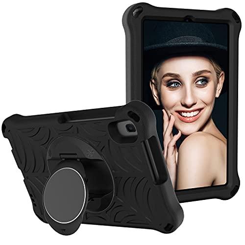 SZCINSEN Funda para tablet Huawei Mediapad M5 Lite de 8 pulgadas para niños, a prueba de golpes, con soporte giratorio ligero y duradero, correa para el hombro (color negro)