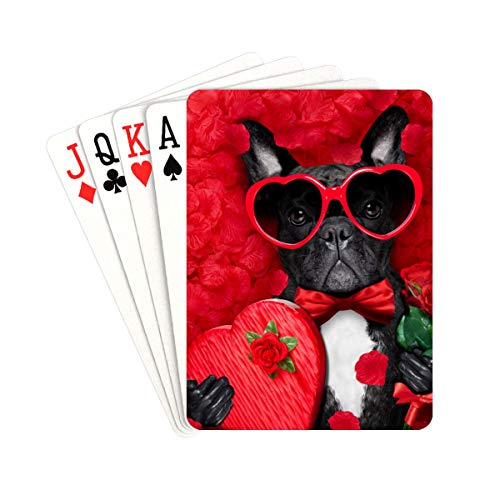 YPink Girl Deck of Cards Valentines French Bulldog Dog Love Holding Unusual Playing Cards Unique for Kids & Adults Card Decks Games Standard Size