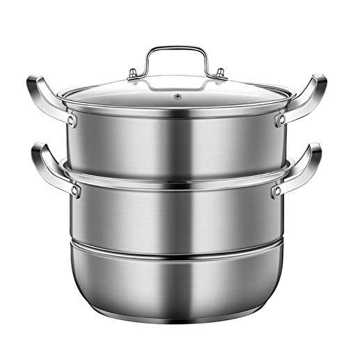 Utensilios de cocina al vapor 304 acero inoxidable de acero inoxidable/vaporizador, olla de sopa doble espesa del hogar, (28/30 / 32 cm) para cocina de gas/cocina de inducción Charola para hornear