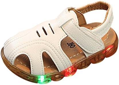 Sandalias para 1-6 Años Xinantime Niño Zapatos de Verano con Luces Intermitentes Sandalias Zapatos al Aire Libre Luminosas Antideslizantes de Verano Zapatos de Dibujos Animados (27, Blanco)
