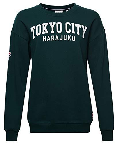 Superdry Damen Limited Edition City College Sweatshirt Emaillegrün M/L Sudadera con Capucha, Verde esmaltado, Medium para Mujer
