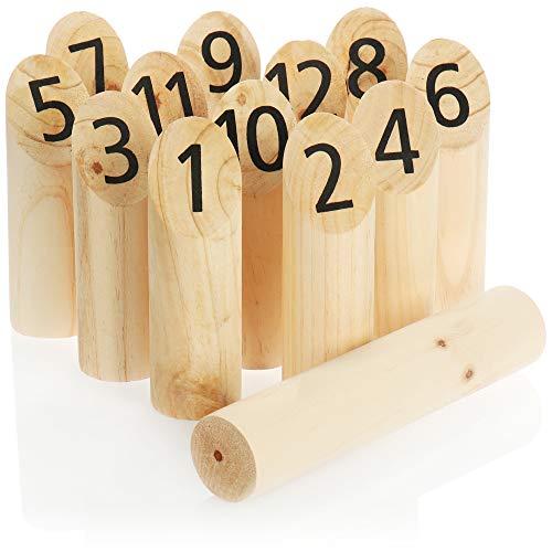 com-four® 13-teiliges Nummern-Kubb Spiel aus Holz, beliebtes Outdoor Spiel, skandinavisches Wikinger Spiel, Bauernkegeln, Wikingerkegeln