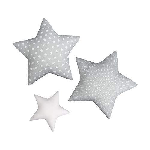 LULANDO Stern Sternchen Kissen 3er-Set, traumhaftes Kissen-Set, Baumwollkissen für Kinder in DREI Farben, einzigartige Kinderzimmer-Deko, weiche Kuschelkissen (Grey)