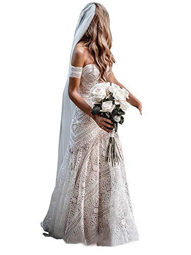 Women's Bohemian Wedding Dresses Sweetheart Mermaid Lace Bridal Gown (Nude Lining-Zipper Up,US6)