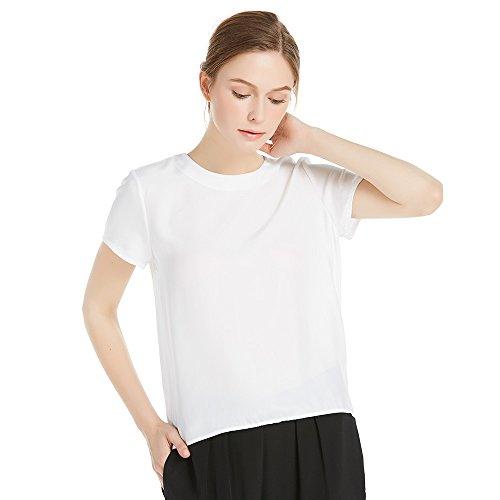LilySilk Seide Damen Hemdbluse Kurzarm Bluse Hemd Tunika 22 Momme Weiß L Verpackung MEHRWEG