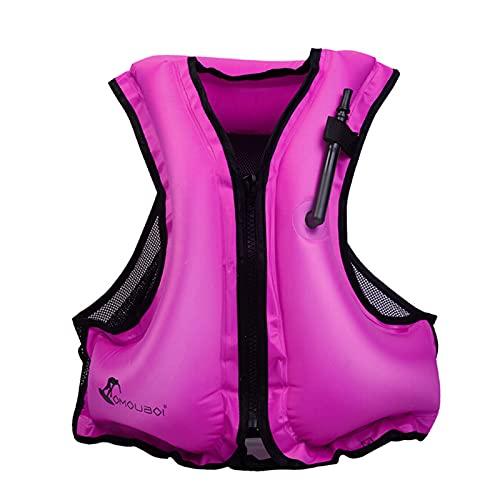 AEKE Chalecos Salvavidas Chalecos para Adultos, Chaleco de flotabilidad Chaqueta de Snorkel Inflable Adulto con Correas de Pierna para Hombres Mujeres Snorkel Chaleco par Pink