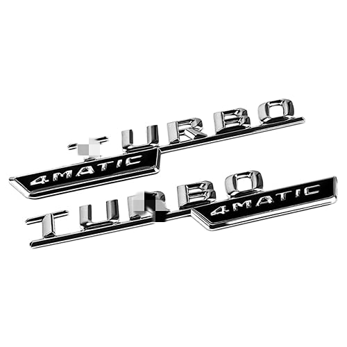 linlinDM 2 Unids Turbo 4Matic Styling Embelm Logo Sticker Coche Cuerpo Cuerpo Fender Compatible con Benz A B C E ML SL CLA GLK AMG W204 S550autologo Insignia,Plata