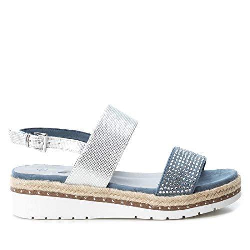 XTI Damen 48793 Peeptoe Sandalen, Blau (Jeans Jeans), 40 EU