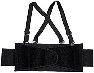 Cordova Safety Products Adjustable Back Support Belt with Attached Suspenders, Medium, Black