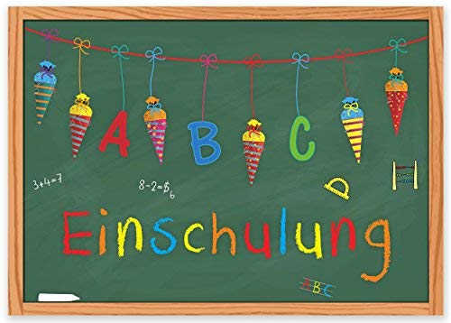 ArtUp.de 15 Einladungskarten zur Einschulung mit passenden Umschlägen im Set - DIN A6 Einladungen Schulanfang Schulbeginn 1. Schultag - mit Zuckertüte Schultüte und Tafel
