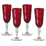 Omada Design Set de 4 copas de champán de plástico, 17,5 cl, ideal para aperitivos o tostadas, apto para lavavajillas, efecto diamante, Línea Diamond
