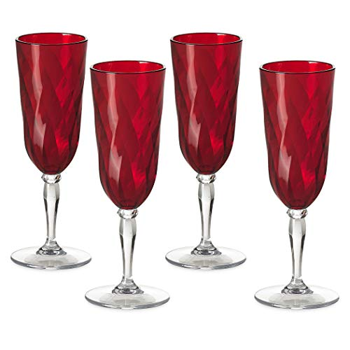 Omada Design Set de 4 copas de champán de plástico, 17,5 cl, ideal para aperitivos o tostadas, apto para lavavajillas, hecho en Italia, efecto diamante, Línea Diamond