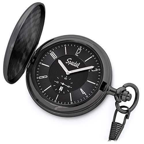 Speidel Classic Brushed Satin Black Engravable Pocket Watch with 14' Chain, Black Dial, Date Window, Seconds Sub-Dial and Luminous Hands