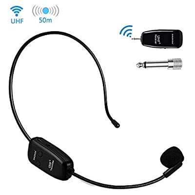 XIAOKOA Wireless Microphone, Headset Microphone UHF Microphone Stable 50 M Wireless Transmission, 2 in 1 Headset and Handheld for Voice Amplifier, Camcorder Recording, Speaker
