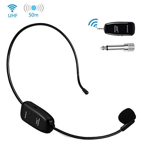 XIAOKOA Wireless Mikrofon,UHF Drahtloses Mikrofon 50M Stabile Drahtlose Übertragung, Kopfhörer und Handheld 2 in 1,für Sprachverstärker, Lautsprecher, Verstärker Geräte