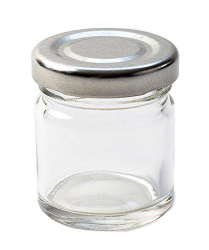 Nutley's Petit Verre bocaux à Confiture Chutney marmelade 42 ML (42,5 Gram) Couvercle Argenté (Lot de 24), Transparent, 16 x 4 x 30 cm