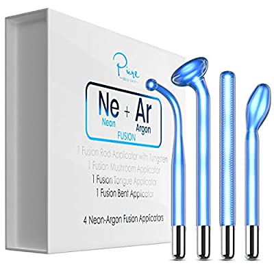 Ojan Beauty NuDerma FUSION Wand 4-Piece Set - Neon & Argon fusion glass applicators for Nuderma - Compatible with all NuDerma systems – High Frequency Upgraded FUSION Wand Set –Skin Tightening