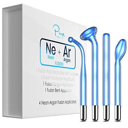 NuDerma FUSION Wand 4-Piece Set - Neon & Argon fusion glass applicators for Nuderma - Compatible with all NuDerma systems – High Frequency Upgraded FUSION Wand Set – Skin Tightening