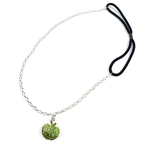 rougecaramel - Accessoires cheveux - Headband/bandeau/serre tête métal fantaisie avec pendant pomme en strass vert