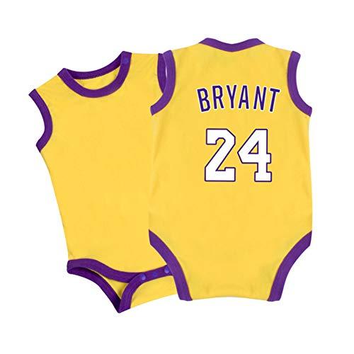 HFJLL Traje siamés una Pieza Body Bebé-Niños Lakers Bryant # 24 0-15 Meses 5 Styles,Yellow-1,80CM