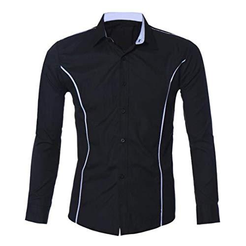 UJUNAOR Oktoberfest Männer Shirt Herren Langarm Casual Slim Fit Stilvolle Hemden Bluse(Schwarz,CN 2XL)