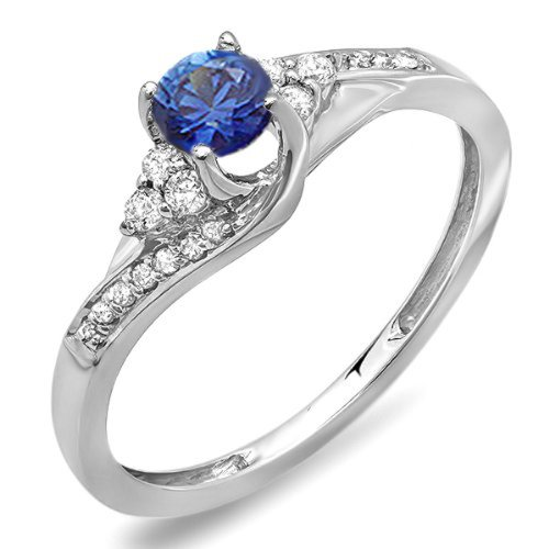Dazzlingrock Collection - Anillo de compromiso de oro blanco de 14 K con diamantes blancos y zafiro azul para mujer
