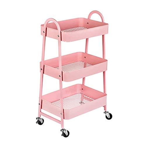 Wagenwagen 3 Etagen Korb Mesh Roll Küchenwagen, Lagerregal Rollwagen mit 4 Rollen, Servierwagen for Home Office Küche Bad cxjff (Color : Pink)