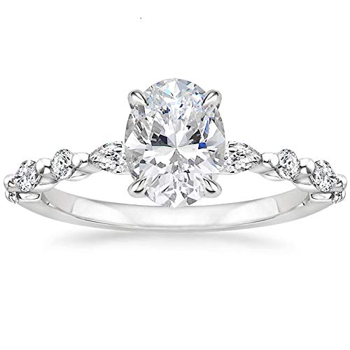 EAMTI 925 Sterling Silver Ring Oval Cut Cubic Zirconia Engagement Rings Solitaire Halo Promise Ring for Women Size 6