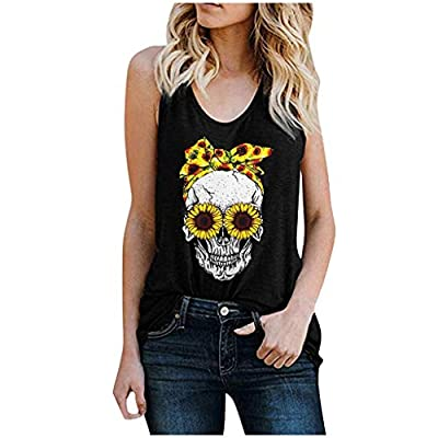 Excursion Clothing Women Punk Skull Sunflower Blouse Sleeveless Tank Tops Graphic Tee Loose Vest Tunic Shirt