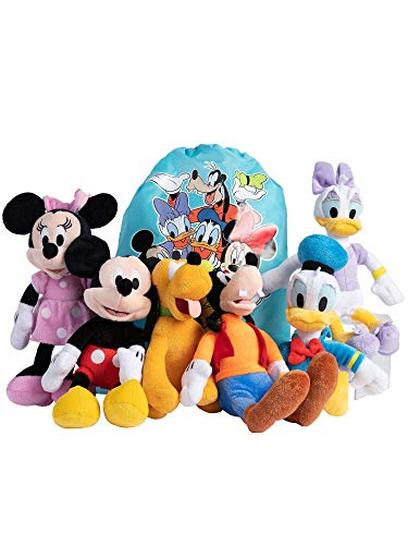 "Disney 11"" Plush Mickey Minnie Mouse Donald Daisy Goofy Pluto 6-Pack & Sling Bag"