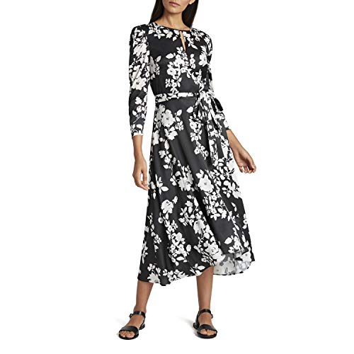 Tahari ASL Women's Ruched Sleeve Keyhole Neck Floral Print High Low Dress, Black White Roses, 8