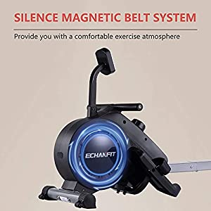 ECHANFIT Rowing Machine Indoor Rower w/LCD Monitor with 16 Levels Silent Magnetic Belt System for Cardio Exercise Training at Home and Office (Renewed)