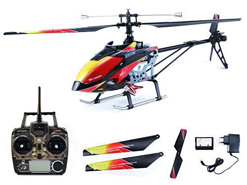 efaso V913–4canali Single Blade RC Heli WL 2.4GHz Ready To Fly, Nero/Rosso