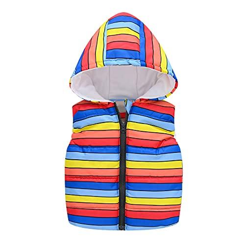 Child Boys Girls Autumn Hooded Vest Jackets Rainbow Dinosaur Print Vest Coats 2-8 Years
