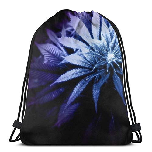 MAY-XCustom Drawstring Backpack,Plants Marijuana Weed Ganja Drawstring Backpack Bag,Soft Drawstring Daypacks For Adult Outdoor Gym