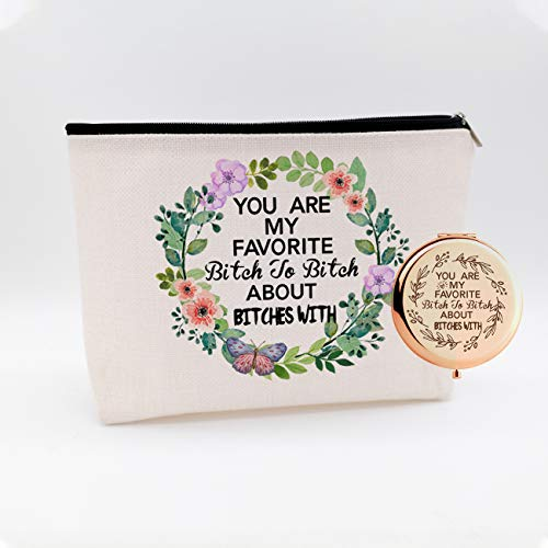 WIEZO-USA You're My Favorite,Best Friend Besties Gift,Friendship BFF Birthday Gift,Maid of Honor Gift,Sister Gift,Waterproof Cosmetic Bag Makeup Bag and Travel Rose Gold Mirror,Set 2 Pcs