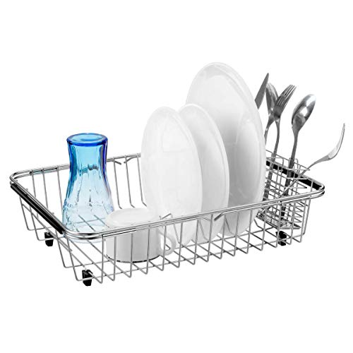 SANNO Geschirrtrockner mit Edelstahl-Besteckhalter, verstellbar über der Spüle Abtropffläche, Geschirrträger