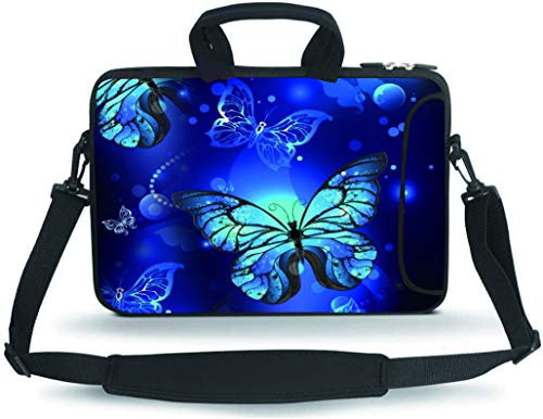 HYUTOTA 11 11.6 12 12.5 13 inches Case Laptop/Chromebook/Ultrabook/Notebook PC Messenger Bag Tablet Travel Case Neoprene Handle Sleeve with Shoulder Strap(Blue Butterfly)