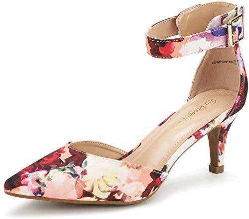 DREAM PAIRS Damen Pumps mit Absatz Knöchelriemchen Sandalen Lowpointed Blumen 40 EU / 9 US