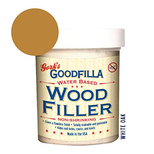 Water-Based Wood & Grain Filler - White Oak - 8 oz By Goodfilla | Replace Every Filler & Putty | Repairs, Finishes & Patches | Paintable, Stainable, Sandable & Quick Drying