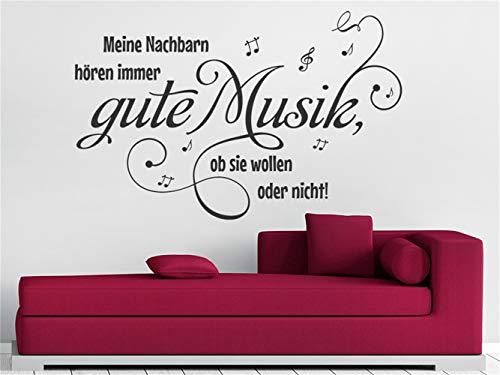 Wandaufkleber Schlafzimmer Spruch Meine Nachbarn hören immer gute Musik Wohnzimmer Schlafzimmer Aufkleber
