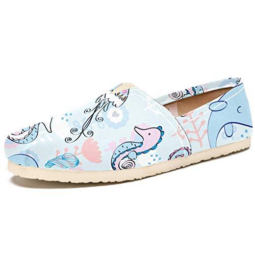 Zapatos planos para hombre y mujer, de pintura, sencillos, con diseño de delfín, medusas, caballito de mar, suaves, cómodos, de moda, casual, de tela, para caminar y conducir,...