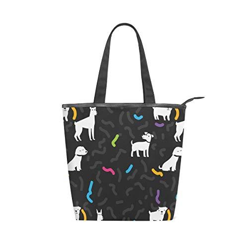 Einkaufstasche mit Cartoon-Motiv, für Haustiere, Hunde, groß, aus Segeltuch, für Arbeit, Reisen, Handtasche, wiederverwendbar, für Damen und Mädchen