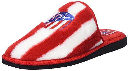 Andinas, Zapatillas de casa Unisex, Multicolor (RAYAS BLANCO-ROJO BORD. ATCO. MADRID), 43 EU