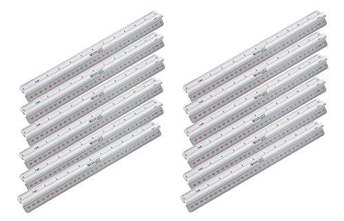 Acme United - Righello in alluminio con manico, argento. 30 cm (12 pezzi)