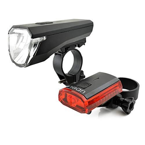 nean, 88187, LED-Fahrrad-Licht-Set Akku, mit Front-und-Rück-Leuchte, StVZO, 50 Lux, schwarz