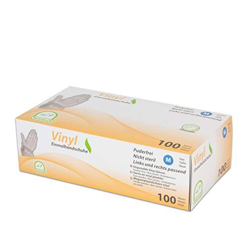 WORK-INN Einweghandschuh in Größe M | 100 Stück | Vinyl Einzelhandschuhe Weiß in praktischer Spenderbox | Ideal für Hygienebereiche - wie Lebensmittelbranche, Kosmetik UVM. | latexfrei